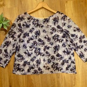 Topshop Split Back Sheer Purple Floral Blouse Sz4